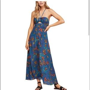 Free People One Step Ahead Maxi Blue Floral Small